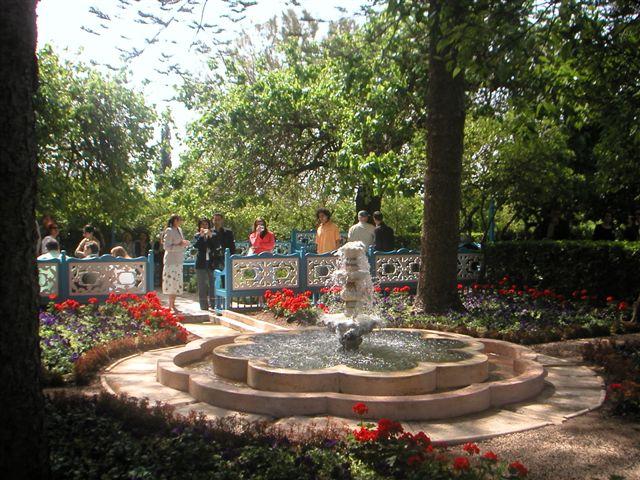 Szökőkút a Ridván (Paradicsom) kertben